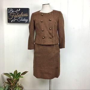 Vintage 60s Brown Skirt Suit Set